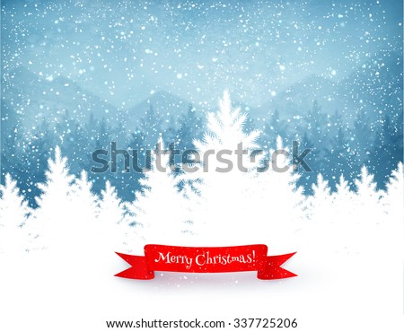 Winter landscape background with falling snow, spruce forest silhouette and red ribbon banner.  - stock vector