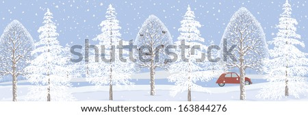 Winter landscape background with snowy trees - stock vector