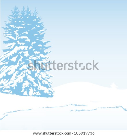 winter landscape card for christmas - stock vector