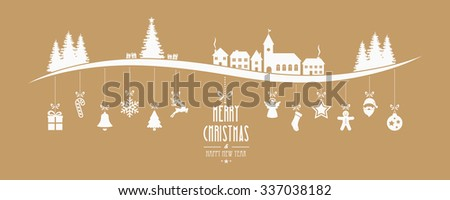 winter landscape christmas ornament hanging gold background - stock vector