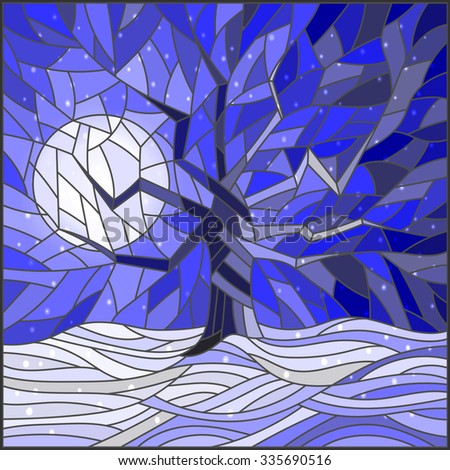 Winter landscape in the stained glass style with a lone tree against the bright moon and snow - stock vector
