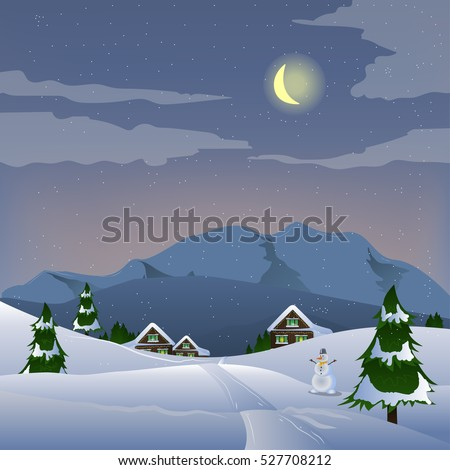 Winter landscape with a house