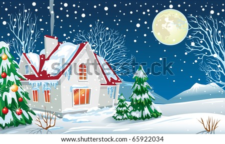 Winter landscape with a house - stock vector