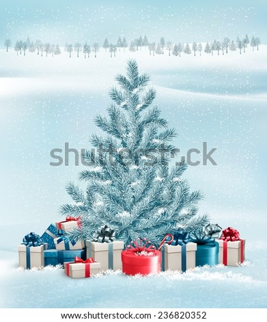Winter landscape with a tree and gift boxes. Vector. - stock vector