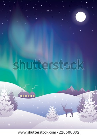 Winter landscape with aurora.  - stock vector