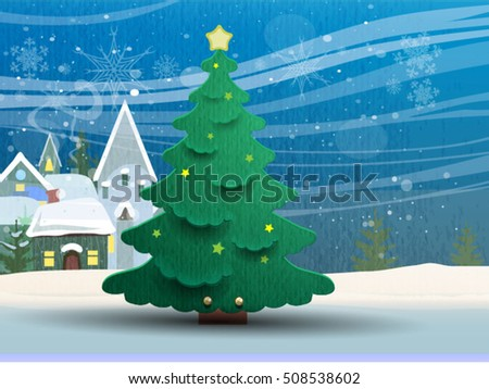 Winter landscape with christmas tree. Vector illustration