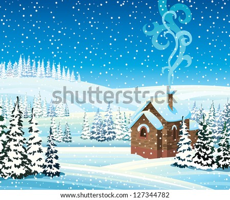 Winter landscape with hills, frozen forest, house and snowfall