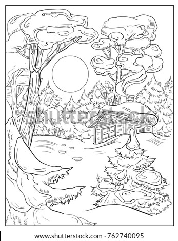 Winter Landscape With House Moon And ForestPage Of Coloring Book Vector Sketch