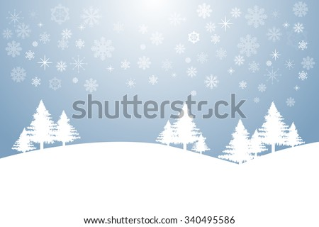 Winter landscape with trees. The background is in trendy blue gradient with transparent snowflakes, stars and light in the middle of the top edge of the vector. - stock vector