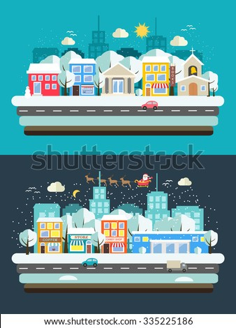 Winter  landscape with wintertime city, buildings, falling snow and flying sleigh with reindeer and Santa, vector illustration