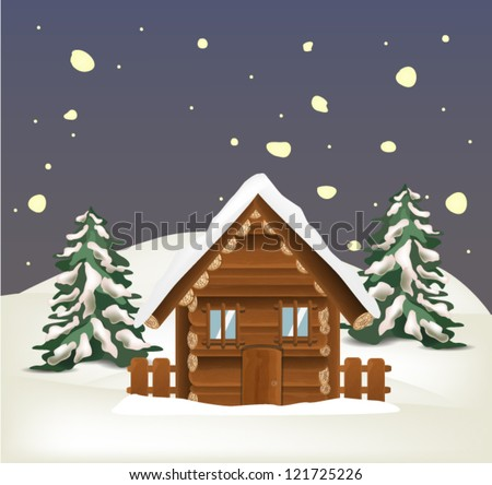 Winter Landscape with Wooden House - stock vector