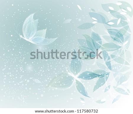 Winter Leaves like Snow Butterflies / Surreal sketch - stock vector