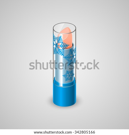 Winter lip balm. Realistic tube with balm and a transparent cap. Vector illustration