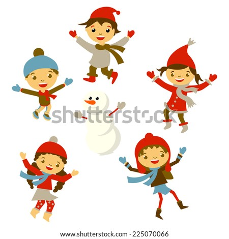 Winter Little girl sculpts snowman, Christmas boy snow  children vector set - stock vector