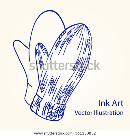 Winter mittens. Ink vector illustration