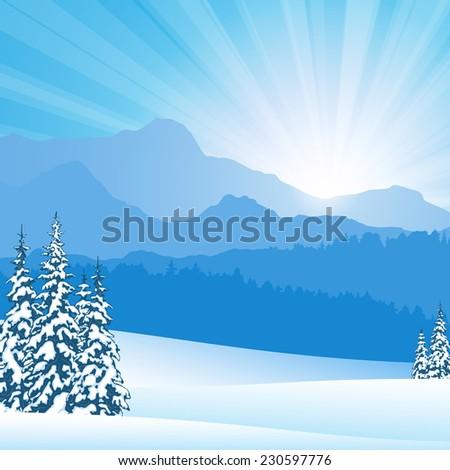 Winter mountain landscape - stock vector