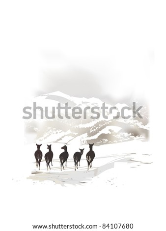 winter mountain landscape - stock vector