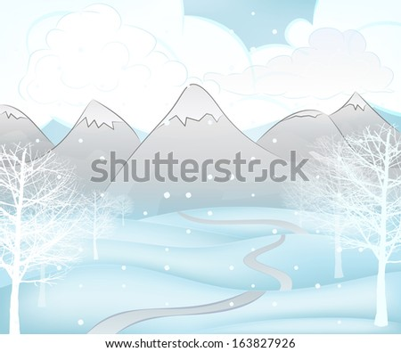 winter mountain landscape scene with broad leaf trees around path vector illustration