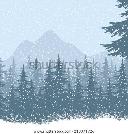 Winter mountain landscape with fir trees and snow. Eps10, contains transparencies. Vector - stock vector