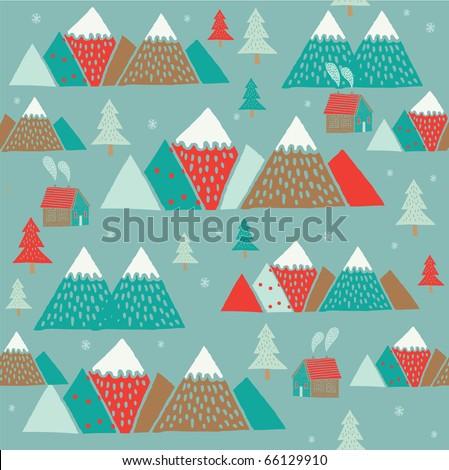 winter mountain. seamless pattern - stock vector