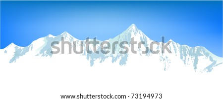 Winter mountains - stock vector