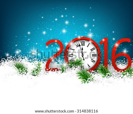 Winter 2016 new year background with spruce twigs and vintage clock. Christmas banner with place for text.  - stock vector