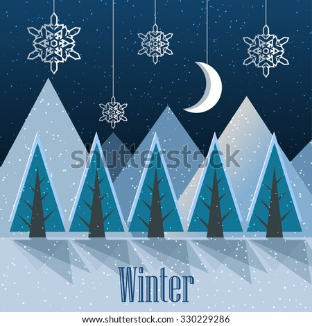 Winter. New Year postcard. Vector Illustration - stock vector
