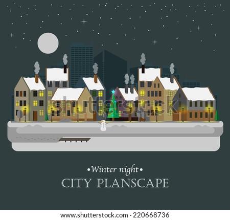 Winter night city background - stock vector