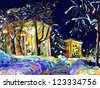 winter night cityscape digital painting, vector version - stock photo