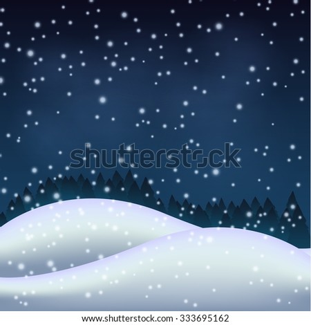 Winter night in the snowy hill