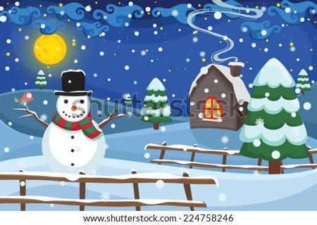 Winter Night Scene Vector Illustration - stock vector