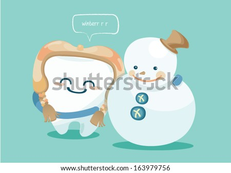 winter of tooth - stock vector