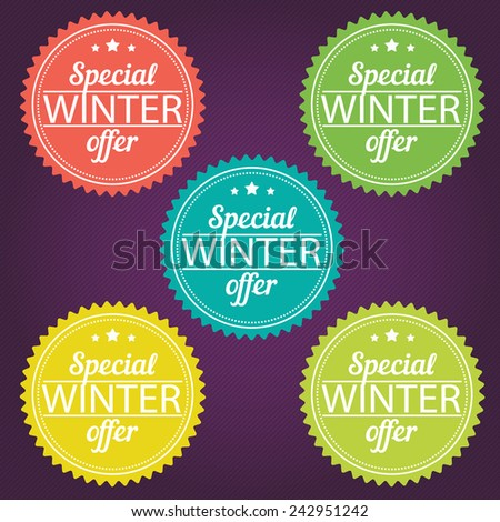 Winter offer stickers. Vector illustration. EPS 8