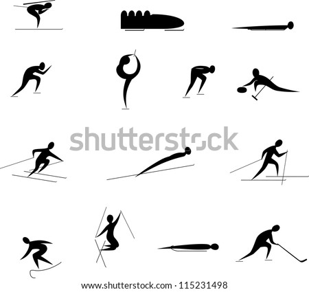 winter Olympic games icon set