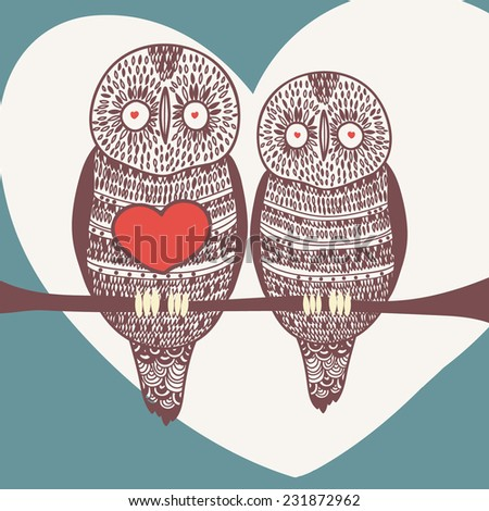 winter owl couple  - stock vector