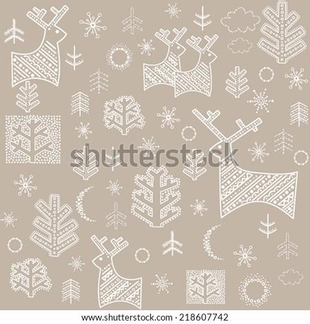 Winter pastel wallpaper with reindeer and fir - stock vector