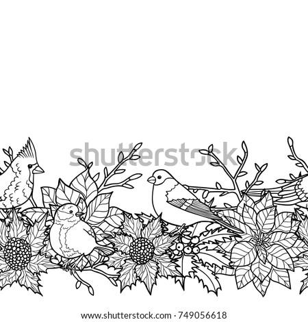 Winter Plants Birds Seamless Border Nature Stock Vector 749056618