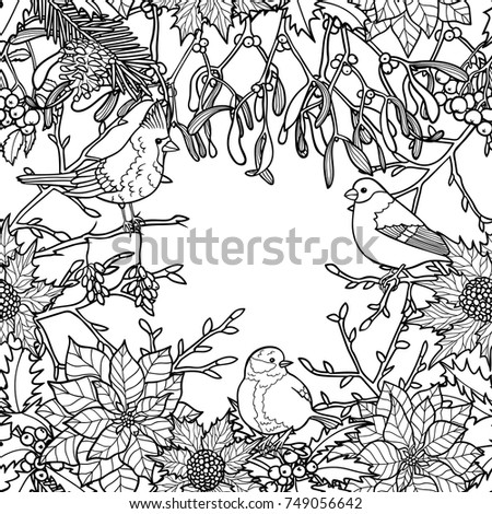 Winter Plants With Birds Seamless Pattern Nature Black And White Wallpaper For Greeting Cards