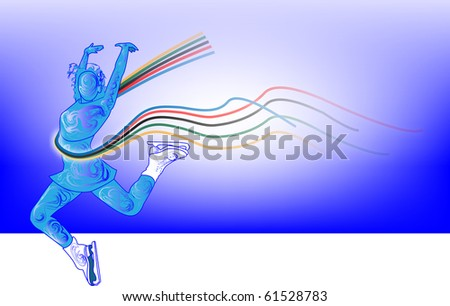 Winter plays, figure skating on  blue background