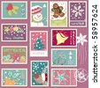 winter postage set - stock vector