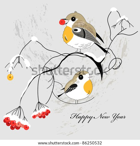 winter postcard with birds - stock vector