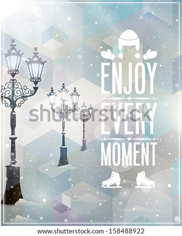 Winter poster. Vector background. - stock vector