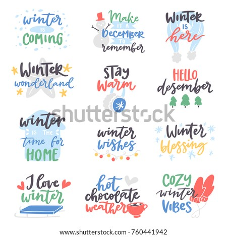 Winter Quote Vector Card Text Design Logo Lettering Typography Saying Hello  Christmas Poster Holiday Quotation Decoration