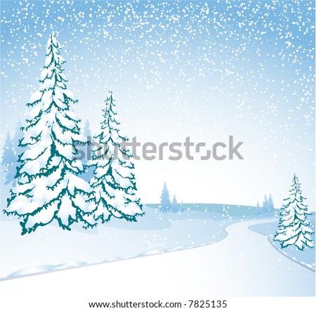 Winter road. Vector - stock vector