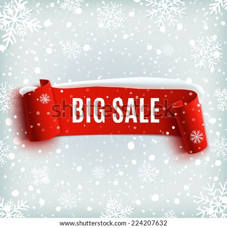 Winter sale background with red realistic ribbon banner and snow. Sale.  Winter sale. Christmas sale. New year sale. Vector illustration - stock vector