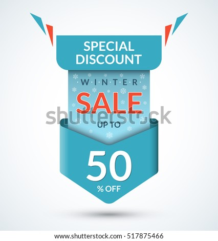 Winter Sale Banner Discount Label Christmas Stock Vector