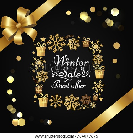 Winter sale best offer poster gift bow, decorative square frame made of golden snowflakes, presents boxes in xmas concept vector on black with splashes