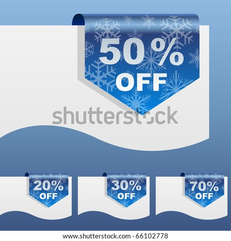 Winter sale discount labels bent around paper edge with snowflake shapes. - stock vector