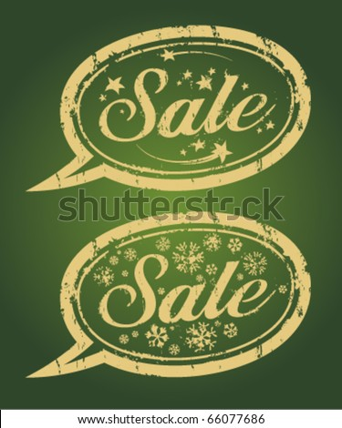 Winter sale gold rubber stamps.