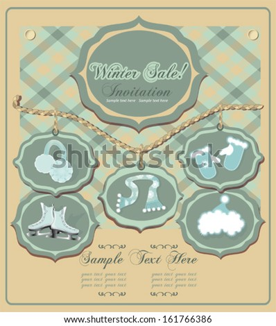Winter sale invitation card with ice skates, scarf, earmuffs, hat and gloves